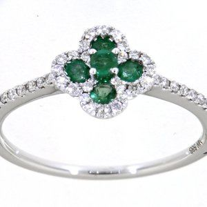 Emerald Diamond Floral Ring Jewelry 14K White Gold